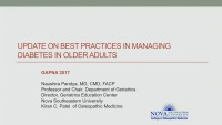 Update on Diabetes Best Practice for Older Adults