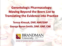 Gerontologic Pharmacology: Moving Beyond the Beers List to Translating the Evidence into Practice