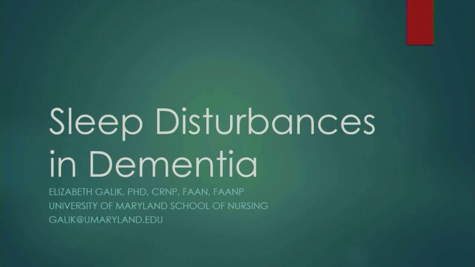 Sleep Disturbances in Dementia