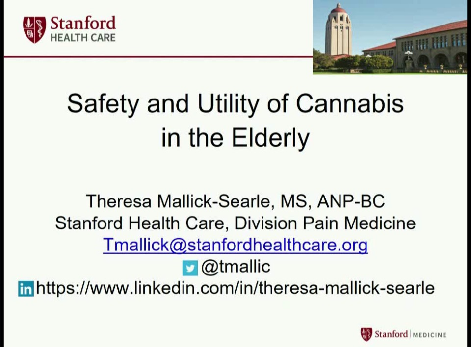 Safety and Utility of Cannabis in the Elderly