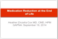 Medication Reduction at the End of Life