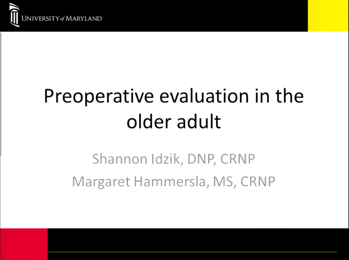 Preoperative Evaluation in the Older Adult