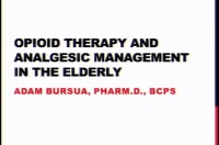 Opioid Therapy and Analgesic Management in Geriatrics