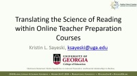 Translating the Science of Reading Within Online Teacher Preparation Courses