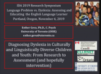 Language Problem vs. Dyslexia: Assessing and Educating the English Language Learner (ELL)