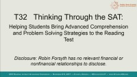 Thinking Through the SAT: Helping Students Bring Advanced Comprehension and Problem Solving Strategies to the Reading Test.