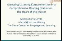 Assessing Listening Comprehension in a Comprehensive Reading Evaluation: The Heart of the Matter icon