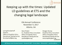 Keeping Up With the Times: Updated LD Guidelines at ETS and the Changing Legal Landscape icon