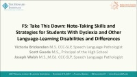 Take This Down: Note-Taking Skills and Strategies for Students With Dyslexia and Other Language-Learning Disabilities and Differences