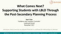 What Comes Next? Supporting Students with LBLD Through the Postsecondary Planning Process