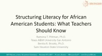 Structuring Literacy for African American Students: What Teachers Need to Know