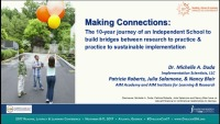 Making Connections: The Ten-Year Journey of an Independent School to Build Bridges Between Research to Practice and Practice to Sustainable Implementation