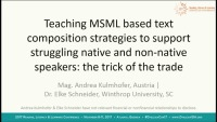 "Improving Writing Skills of Dyslexic Native and Non-Native Speakers of English With MSML ""Tricks of the Trade"""