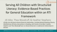 Serving All Children With Structured Literacy: Evidence-Based Practices for General Education Within an RTI Framework