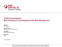 Understanding & Monitoring Risk in Energy: Best practices in counterparty credit risk management