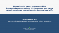 Maternal obesity impacts newborn microbiota Enterobacteriaceae produced LPS and reprograms bone marrow derived macrophages: a trained immunity phenotype in early life.