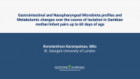 Gastrointestinal and Nasopharyngeal Microbiota profiles and Metabolomic changes over the course of lactation in Gambian mother/infant pairs up to 60 days of age