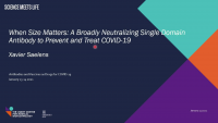 When Size Matters: A Broadly Neutralizing Single Domain Antibody to Prevent and Treat COVID 19 icon