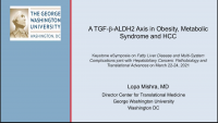 A TGF-ß-ALDH2 Axis in Obesity, Metabolic Syndrome, and HCC