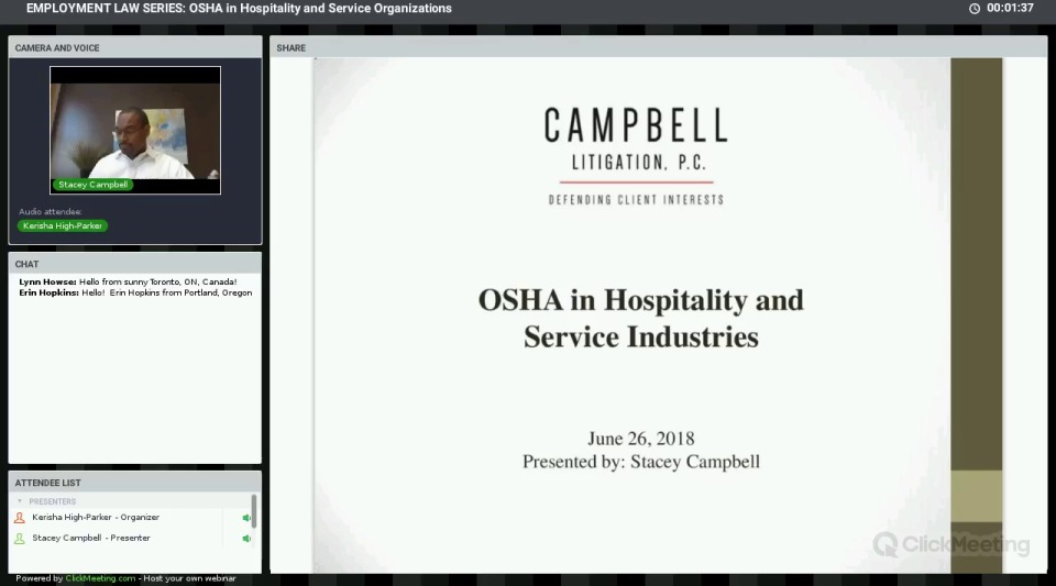 EMPLOYMENT LAW SERIES: OSHA in Hospitality and Service Organizations