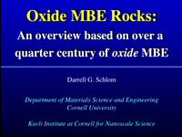 Tutorial P: Oxide Film Growth - Molecular Beam Epitaxy and Pulsed Laser Deposition Face-off for Supremacy<br />Part 2: Introduction to MBE
