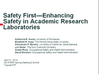 Safety First - Enhancing Safety in Academic Research Laboratories
