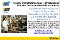 An Overview of the Australian Centre for Advanced Photovoltaics and the Australia-US Institute for Advanced Photovoltaics