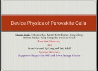 Defect Densities, Mobility and Device Physics of Perovksite Solar Cells