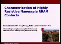 Characterization of Highly Resistive Nanoscale RRAM Contacts