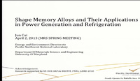 Shape Memory Alloys and Their Applications in Power Generation and Refrigeration