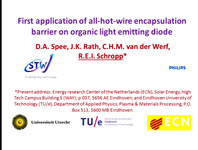 First Application of All-Hot-Wire Encapsulation Barrier on Organic Light Emitting Diode