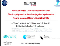 Functionalized Gold Nanoparticles with Electropolymerizable π-Conjugated Systems for a Neuro-Inspired Memristive Nanoparticle Organic Synapse-Transistor