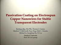 Passivation Coating on Electrospun Copper Nanowires for Stable Transparent Electrodes