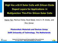 High Voc a-Si:H Solar Cells with Silicon Oxide Doped Layers for Applications in Multijunction Thin-Film Silicon Solar Cells
