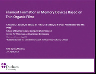 Filament Formation in Memory Devices Based on Thin Organic Films