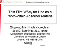 Thin Film WSe for Use as a Photovoltaic Absorber Material