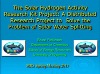 The Solar Hydrogen Activity Research Kit (SHARK) Project:  A Distributed Research Approach to Solve the Problem of Solar Water Splitting