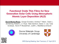Functional Oxide Thin Films for New Generation Solar Cells Using Atmospheric Atomic Layer Deposition (ALD)