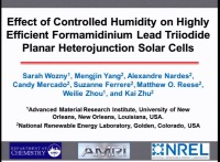 Achieving High Efficiencies for Planar Heterojuction Formamidinium Lead Iodide Perovskite Solar Cells in Controlled Humid Environments