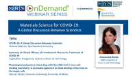 Materials Science for COVID-19: A Global Discussion Between Scientists