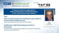 In-Space Production Applications: Advanced Materials and Manufacturing on the International Space Station
