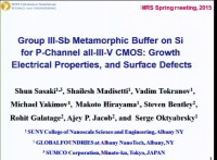 Group III-Sb Metamorphic Buffer on Si for p-Channel all-III-V CMOS: Electrical Properties, Growth and Surface Defects