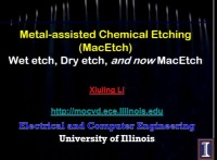 Tutorial OO: Introduction to Metal-Assisted Chemical Etching - Chemistry and Applications