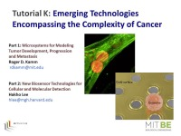 Tutorial - Emerging Technologies Encompassing the Complexity of Cancer