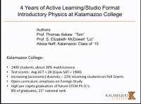 A2.05 - Implementation of Active Learning/Studio Format Introductory Physics at Kalamazoo College: 4 Years of Faculty and Student Experiences