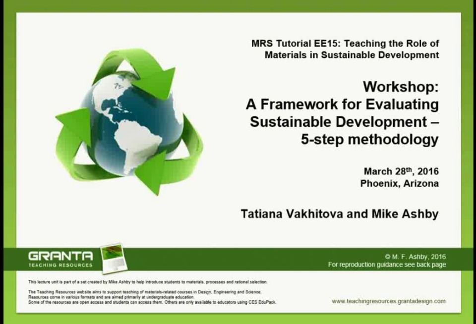 Part I: A Framework for Evaluating Sustainable Development