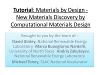 Part I: Overview: The Materials Genome Initiative - Opportunities and Challenges