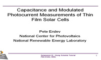 Capacitance and Modulated Photocurrent Measurements of Thin-Film Solar Cells