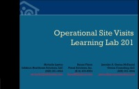 Operational Site Visits 201- LEARNING LAB