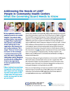 Addressing the Needs of LGBT People in Community Health Centers: What Governing Board Needs to Know
